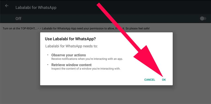 labalabi permissions for whatsapp