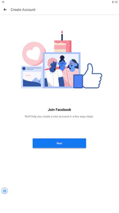facebook create account step 1