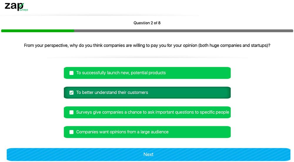 zap surveys taking a survey